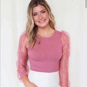 Blu Spero Boutique Mesh Sleeve Bodysuit